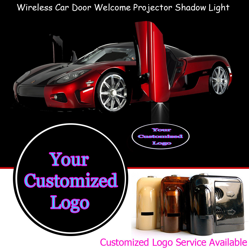 2x Your Customized Logo Wireless Sensor No Need Drilling Car Door Welcome Laser Projector Ghost Shadow LED Light
