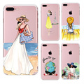 Fashion Dress Travel Girl Mobile Phone Bag For iPhone 5 5s SE 6 6Plus 6sPlus 7 7Plus TPU Transparent Soft Silicon Case Cover bag