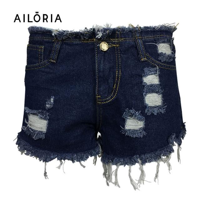 Ailoria Короткие Джинсы Плюс Размер 2017 Летом Женщины Высокой Талии джинсовые Шорты Изношены Отверстие Женские Super Cool Flash Короткие Pantalon Femme