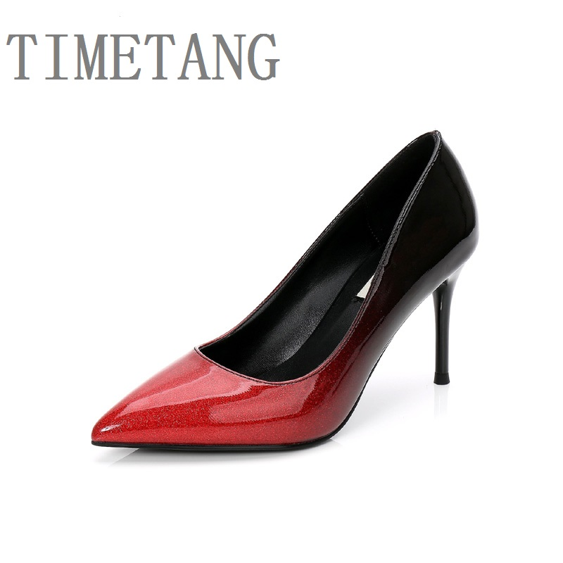 TIMETANG 2018 New arrived women's fashion concise gradient pointed toe slip-on pumps ladies office&party comfortable shoes 34-40