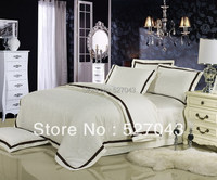 The White For Hotel Stain Embroider Queen/Full Thick Bedding Set DBHT006,Free Shipping