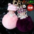 2016 Cute Genuine Rabbit Fur Ball Plush Monchichi Cartoon Keychain for Keys Women Handbag Charm Key Chains Bag & Car Accessories