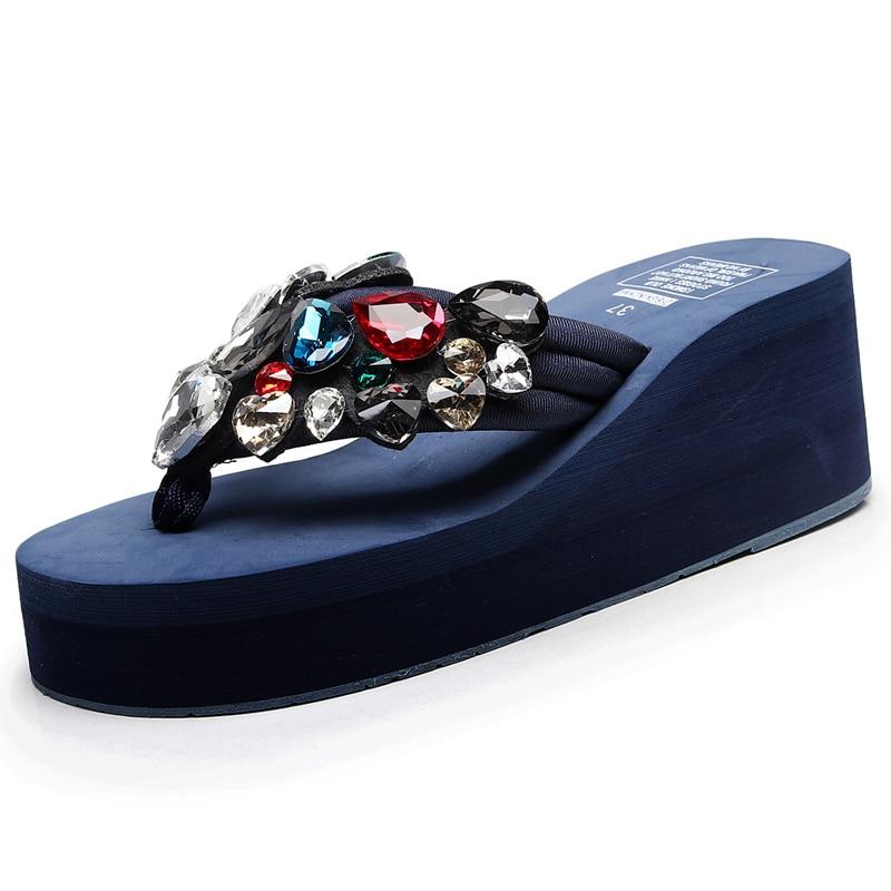 6cm 8cm 11cm Summer High Heels Women Flip Flops Luxury rhinestone Non slip comfortable Women Wedges Slippers in Flip Flops from Shoes