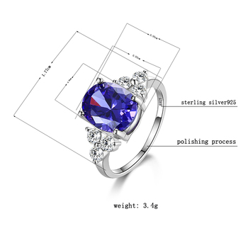 Women's Jewelry 925 Sterling Silver Rings White Pink Light Blue Champagne Zircon Oval Wedding Ring 5