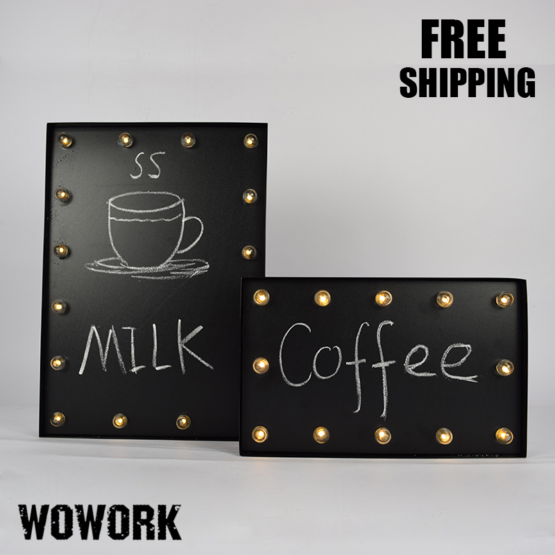 Blackboard LED Marquee Light Writing Board Cafe Menu Board Battery Light Illuminated Signs advertising board shop decoration