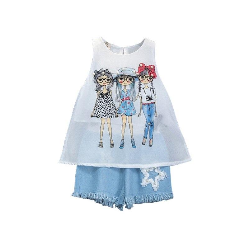 Комплекты для маленьких девочек; сезон лето в Корейском стиле для девочек шифоновый жилет плюс Твердые Цвет шорты удобно для одевания 2018 ...