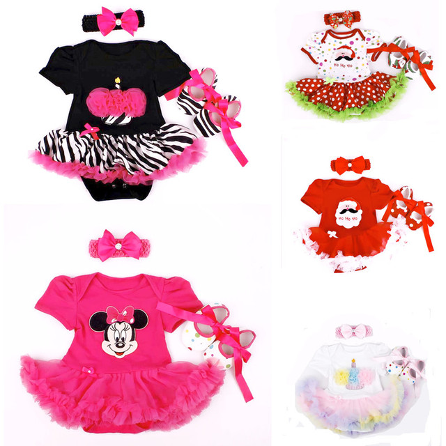 Birthday Baby Girl Infant 3pcs Clothing Sets Suit Princess Tutu Romper Dress Jumpsuit Bebe Party Wedding Costumes Vestidos