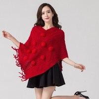 Fashion Women Poncho Warm Spring Autumn Winter Knitted Tassel Pure Color Shawl Cape High Grade Acrylic