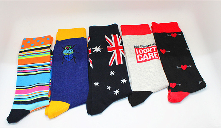 Men Socks Fashion Cartoon Knee-High Socks Funny Ladybird the Union Flag Personality Business Crew Socks Skateboard Chaussette