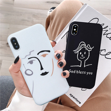 JAMULAR Funny Abstract Art Face Phone Case For iPhone X XS MAX XR 6 6s 7 8 Plus Soft Matte Black White Silicone Back Cover Coque funny mustache style protective plastic back case for iphone 5 dark blue white black