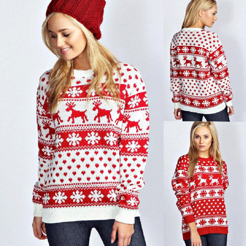 Winter New Pullover Christmas Elk Pattern Long Sleeve Sweater For Women One Size White Red Ladys Sweater