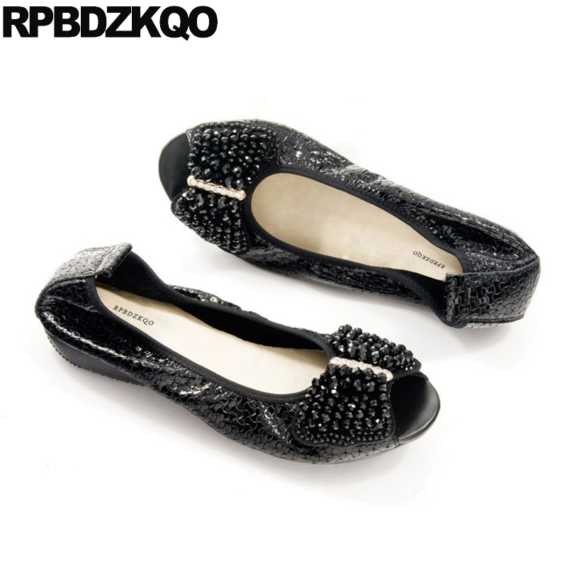 Shoes Bow Foldable Ballet Flats Patent Leather Blue Diamond 10 11 Elderly Large Size Peep Toe Black Rhinestone Ballerina Women ballet flat