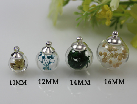 15pcs 10 12 14 16mm Glass Ball Necklace Pendant Terrarium Pendant