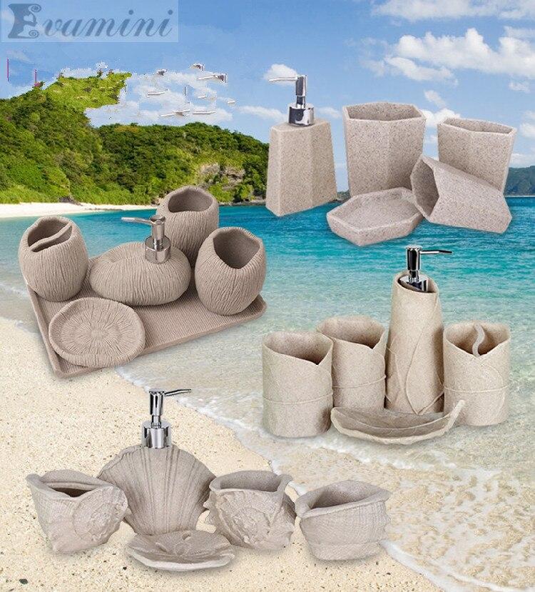 Морской песок и гравий Мода Ванная комната поставки смолы для ванной набор из пяти штук мыть набор для ванной комнаты ванны