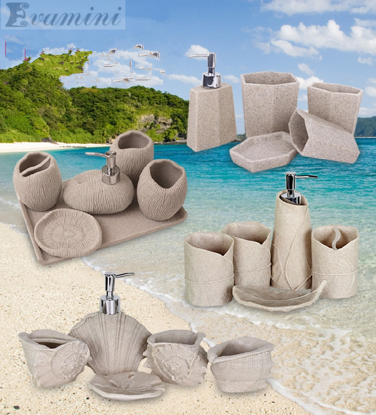 Marine sand and gravel Fashion bathroom supplies resin bathroom set of five pieces wash set bathroom