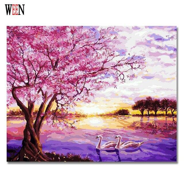 WEEN Swan Lake Couple Painting By Numbers DIY Animal Digital Wall ...