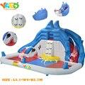 ДВОР Акула Надувные Водные Горки С Бассейном с Вентилятором, среднего размера Надувной игрушки, надувной Батут