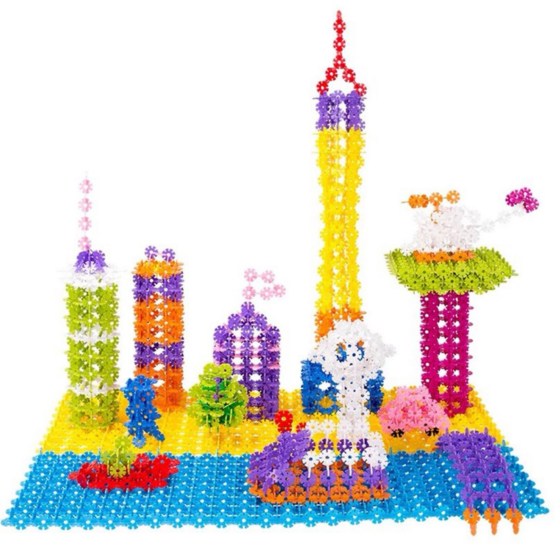 Classic Educational Kid Baby Toys 400PCs Multicolor Plastic Snowflake DIY Assembling Blocks Kids Bricks Toys
