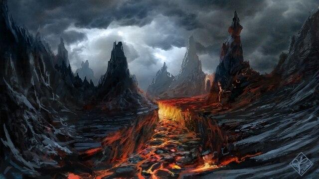 hd oil painting print on canvas volcano dark clouds lava rock art