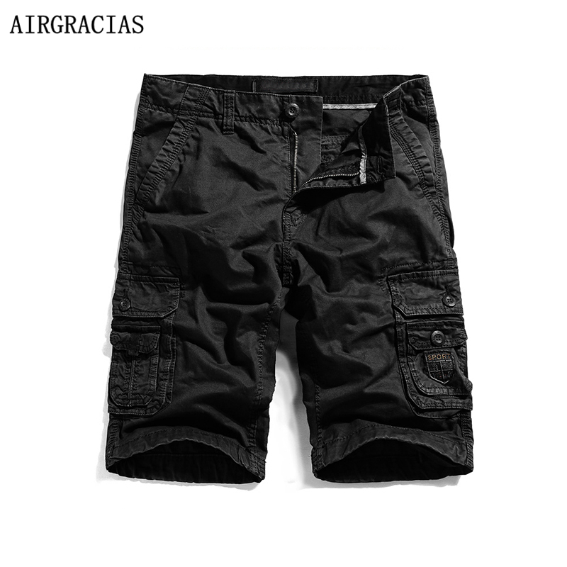 AIRGRACIAS Mens Military Cargo Shorts 2017 Top Brand Solid Color Shorts Men 100% Cotton Loose Style Casual Short Pants 29-40