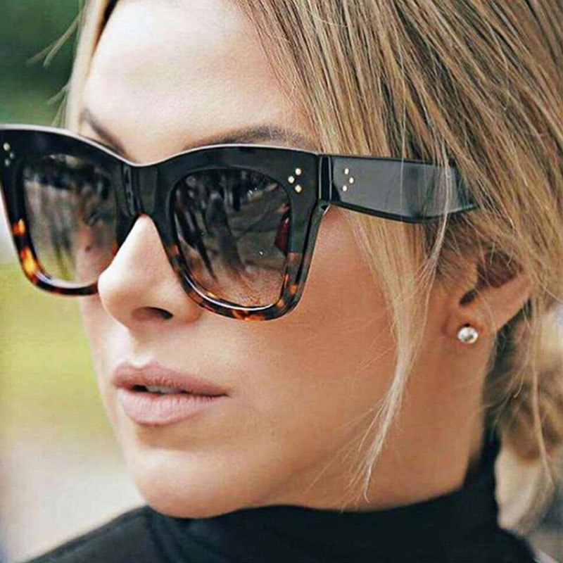 Women Fashion Big Frame Sunglasses Female Over sized Square <font><b>Lens</b></font> Goggles Sexy Ladies Cat eye Sun Glasses New Trendy Style Shades image