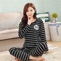 Soprt ropa de Ocio Más Nuevo 2016 de primavera y otoño de manga larga pijamas de las mujeres pijamas de seda encantadora 90 S ropa de dormir envío gratis