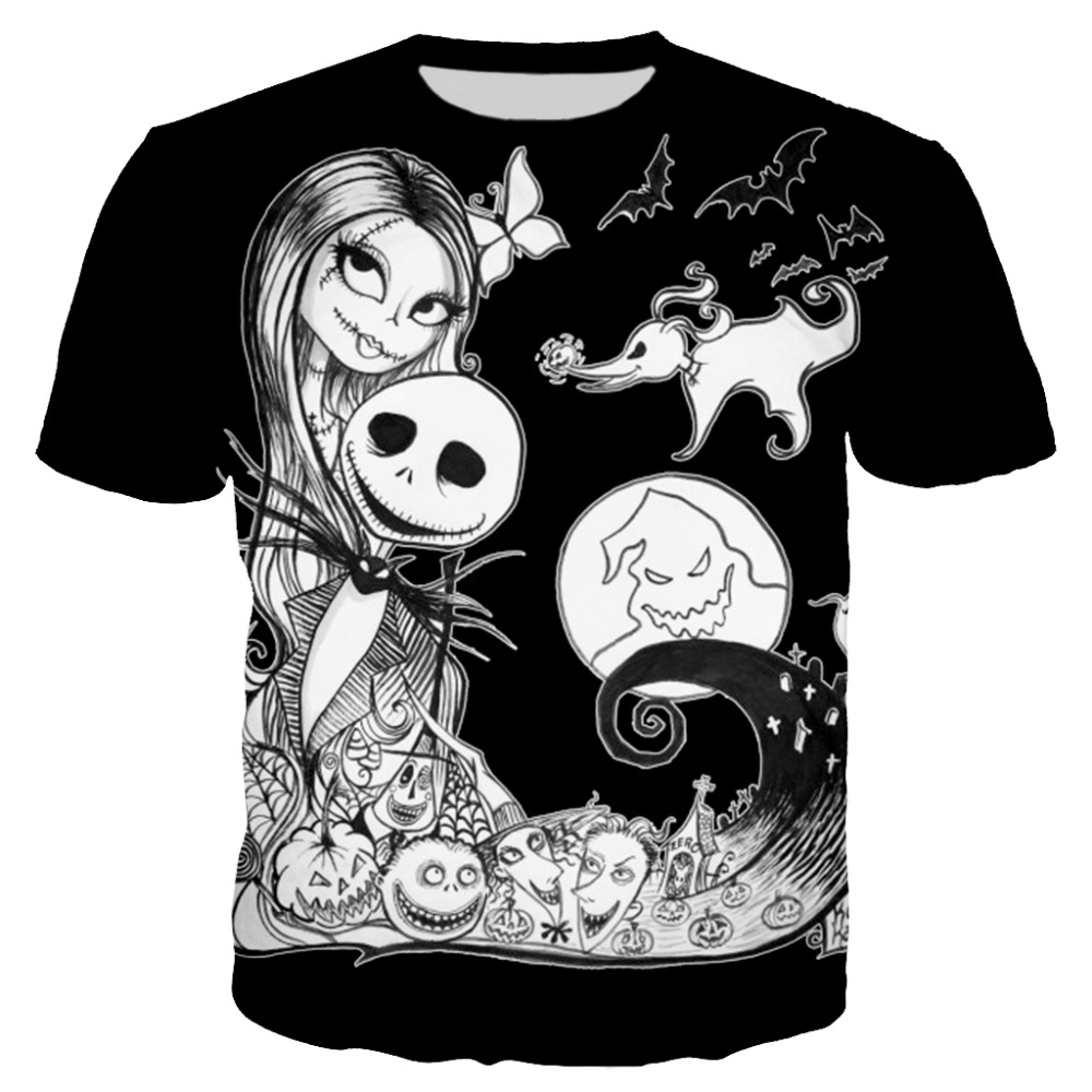 PLstar Cosmos 2018 Summer New Fashion t shirt Funny 3D Print Jack And Sally Nightmare Before Christmas tshirt Casual Tees XS-7XL Платье