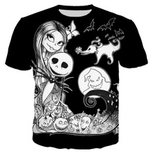PLstar Cosmos 2018 Summer New Fashion t shirt Funny 3D Print Jack And Sally Nightmare Before Christmas tshirt Casual Tees XS-7XL