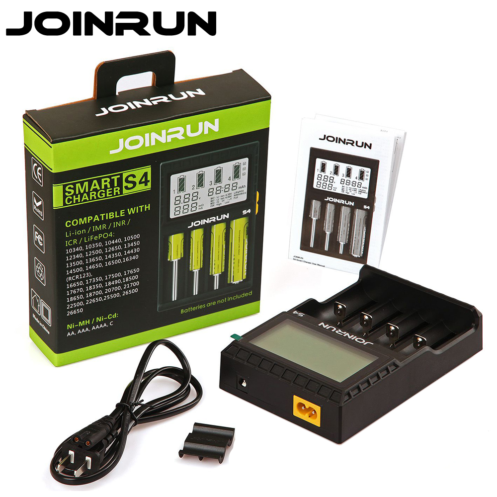 Joinrun S4 Smart Battery Charger 18650 charger LCD Screen Li-ion 18650 14500 16340 26650 AAA AA Support DC 12V Car Charger 18650 li ion battery charging stand in car charger travel charger set black