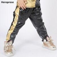Демисезонный Новый Малыш взрослых хип-хоп брюки сбоку золото лоскутное этап одежда для сцены Джаз показать Костюмы Танец шаровары