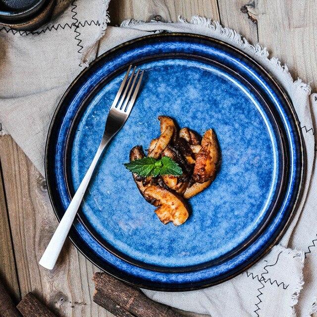 1PC KINGLANG Creative Ceramic Retro Porcelain Deep Blue Plates Dishes Fish Plate Dinnerware Tableware & 1PC KINGLANG Creative Ceramic Retro Porcelain Deep Blue Plates ...
