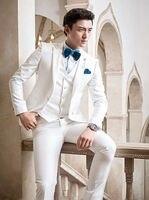 Jacket Pant Bowtie Vent Handkerchiefs White Wedding Suits For Men Custome Homme Tuxedos Terno Slim