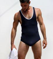 Sexy Hombres Chaleco Siamés Blanco Body Bodywear Leotardo Camiseta Respiración Libre de la Ropa Interior Erótica Tanga FX1044