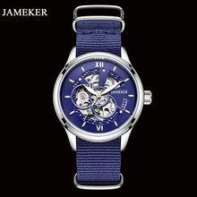 JAMEKER New Trend Design Automatic Mechanical Watch Skeleton Transparent Self-Wind Movement Waterproof Nylon strap Man Clock(China)