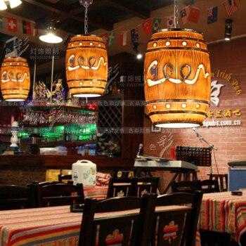Creative personality retro loft bar restaurant pendant lights modern Resin bottle barrel cafe pendant lamp