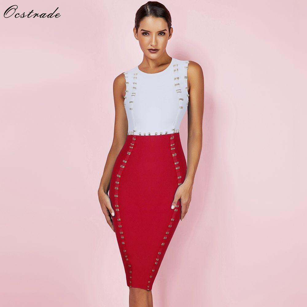Ocstrade Vestidos Bandage 2019 New Arrival Metals Embellished Sexy Red Bodycon Bandage Dress Women Celebrity Evening