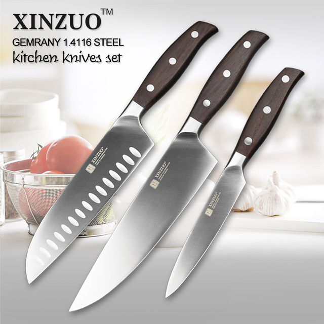 XINZUO Kitchen Tools 3 PCs Knife Set Utility Chef Satoku German 14116 Stainless Steel