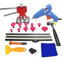 PDR tools blue glue gun hammer Red dent lifter glue sticks plastic sheet Paintless dent removal auto body repair tools kit