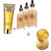 VIP LINK gold serum 24k 50ML + Gold Luxury Facial Cleanser + 24K Gold Eye Masks 60pcs Collagen Eye Mask