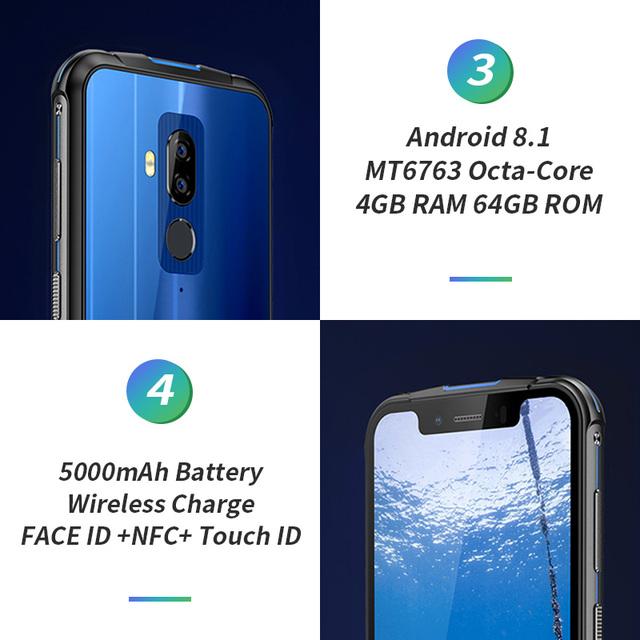 Ulefone ARMOR 5 5.85″ HD+ Android 8.1 IP68 Waterproof SmartPhone Helio P23 MT6763 Octa-Core 4GB+64GB 16MP Dual Camera OTG NFC 4G