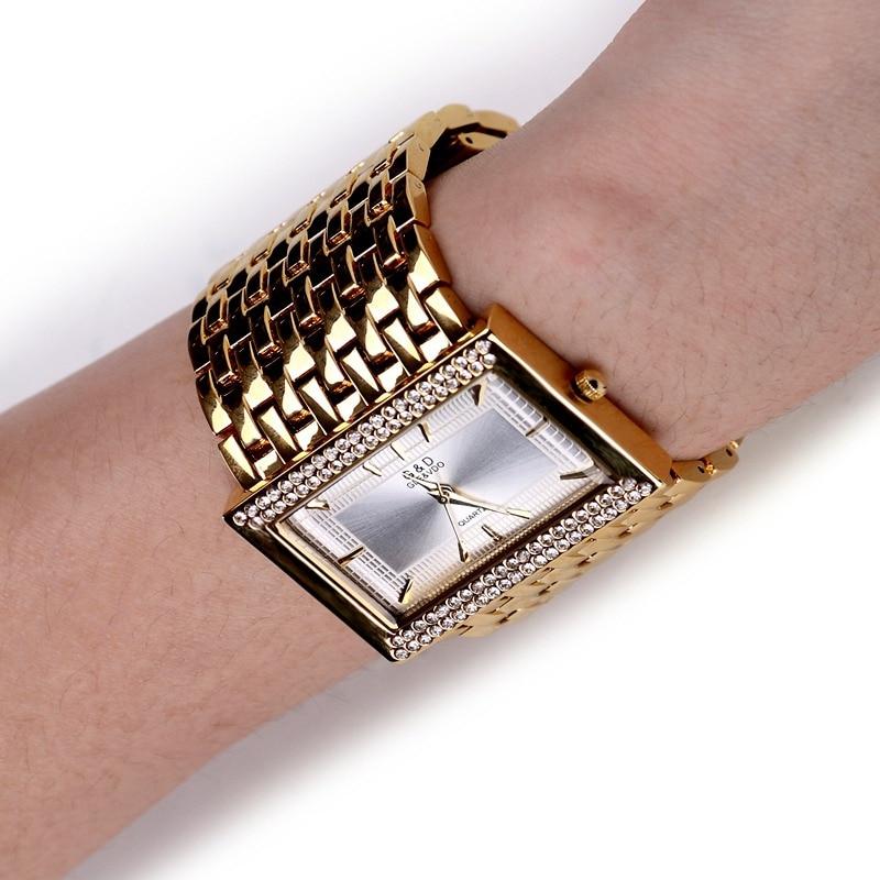 New Vintage Stainless Steel Women Watches 2017 Luxury Top Brand G&D Stones Casual Quartz Watch Women Clock Relogio Feminino