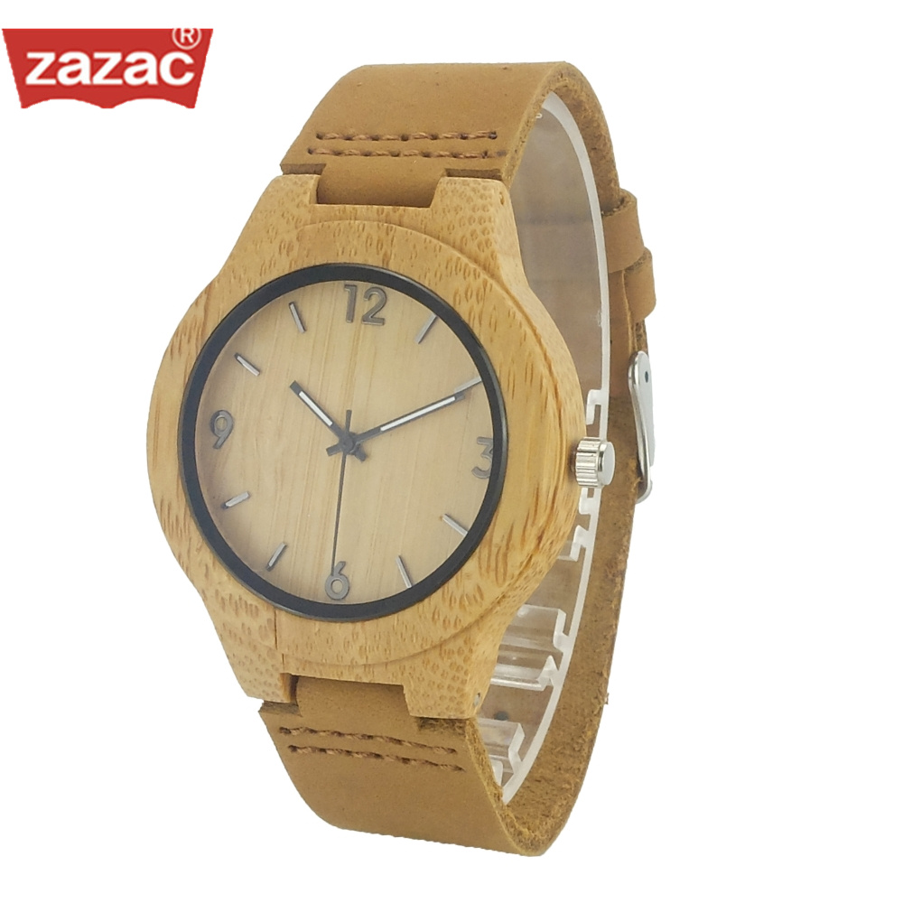 Luxury Brand Zazac Women Bamboo Wood Watches Child And Women Quartz Clock Fashion Casual Leather Strap Wrist Watch Male Relogio