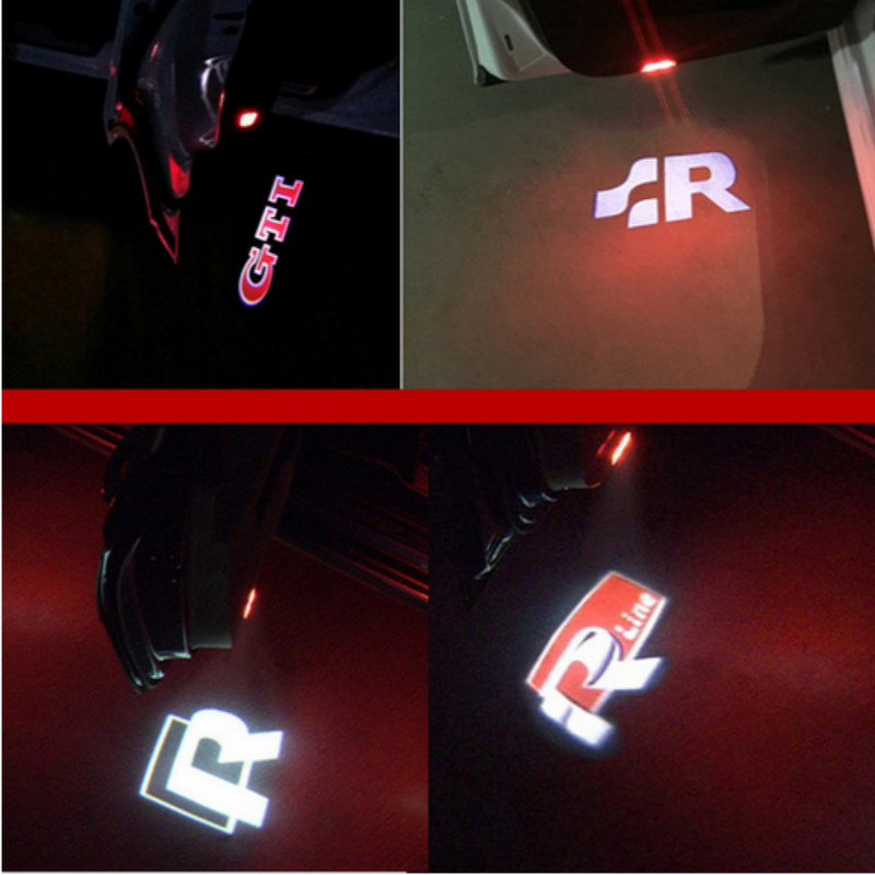 For VW Golf 5 6 7 Jetta MK5 MK6 CC Tiguan Passat B6 B7 Scirocco New Touareg R line GTI Passat Car LED Door Warning Welcome Light стоимость