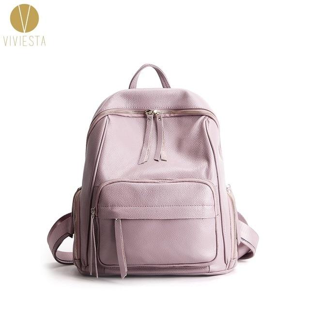 ab0c6666c67 GENUINE LEATHER TASSEL BACKPACK - Women s Minimalistic Fashion Casual  Vintage Soft Calf Skin Small Spacious School Travel Bag
