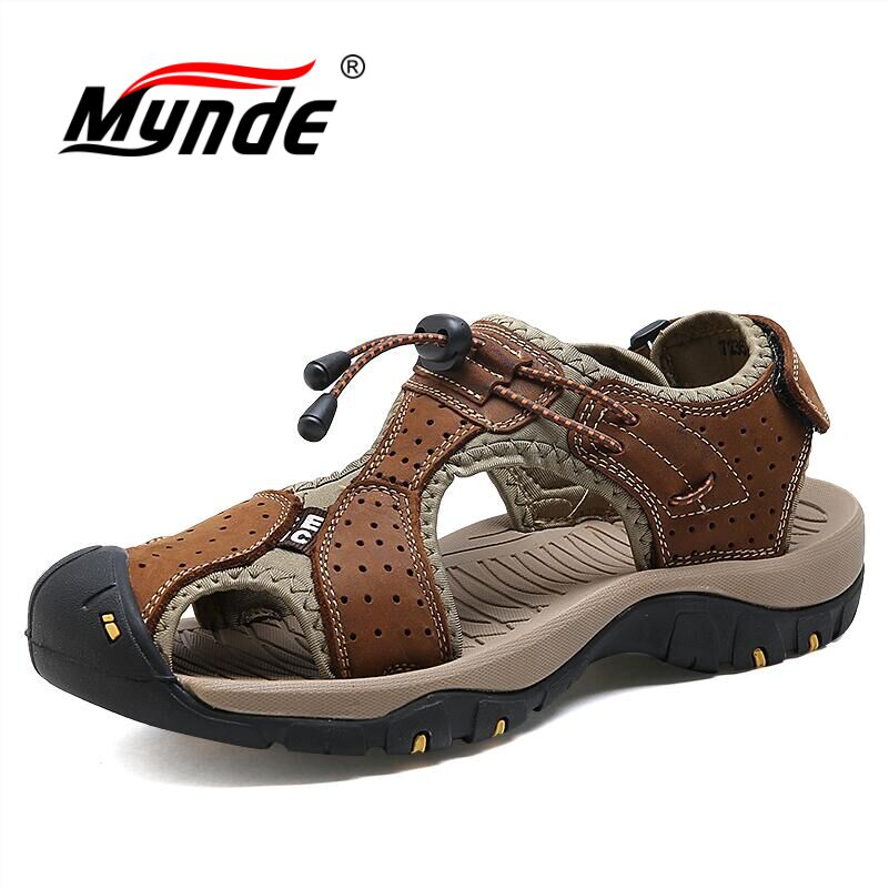 MYNDE New Fashion Summer Beach Breathable Men Sandals Brand Genuine Leather Men's Shoes Man Casual Shoes Plus Size 39-46
