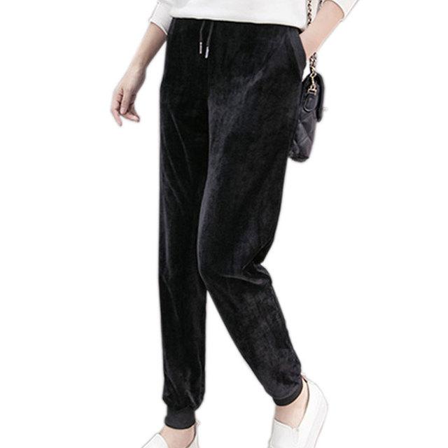 2016 moda Quente de Veludo Harem Pants Mulheres Plus Size Com Cordão Calça Casual Feminina Outono Inverno Calças Mulheres Plus Size S-2XL