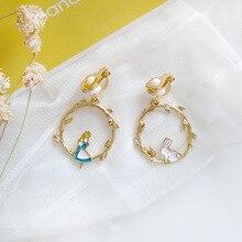 Fairy Tales Cute White Rabbit Alice in Wonderland Clip Earrings Non No Piercing Ear Hole Fairy Round Branch Clips on Earrings