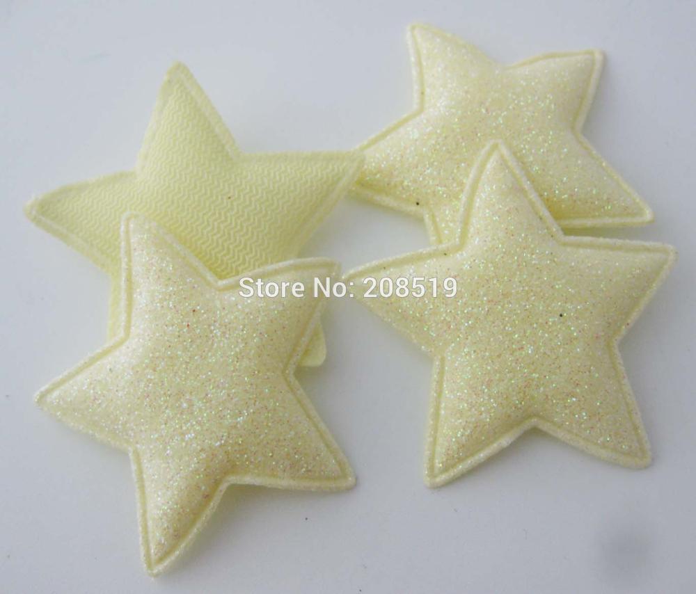 PANNGW микс 80 шт Блестящий фетровый тканевый аппликации около 45 мм звезда патч ручной работы декоративная заплатка для ювелирных изделий для волос - Цвет: only Yellow color T