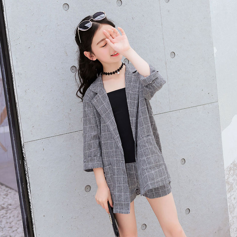 Teenage Girls Clothing Set Spring Fashion Plaid Jackets +Short Tracksuit School Uniform Girls Clothes Children Clothes 10 12Year