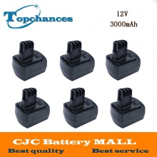 6PCS Newest Replacement Ni-Mh 12V 3000mAh Power Tool Batteries for METABO 6.25473 ULA9.6-18 BS 12 SP BSZ 12 Impuls Black
